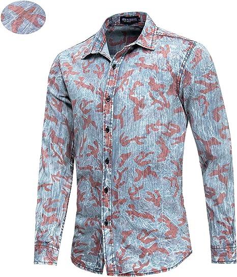 Camisa Vaquera para Hombre,Camisa Casual de algodón Transpirable Camisa Impresa 3D Top de Manga Larga de Verano: Amazon.es: Deportes y aire libre