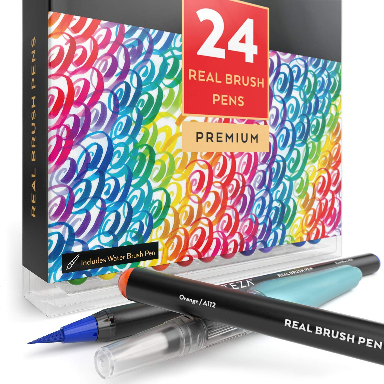 Arteza Real Brush Pens, 24 Colors for Watercolor Painting with Flexible Nylon Brush Tips, Paint Markers for Coloring, Calligraphy and Drawing with Water Brush for Artists and Beginner Painters by ARTEZA