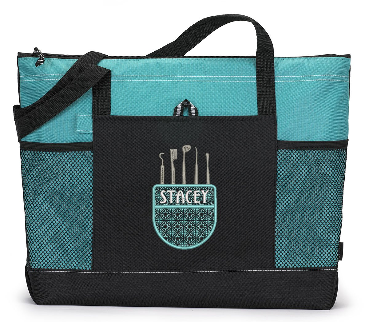 Dental Tools Pocket Personalized Tote Bag with Mesh Pockets
