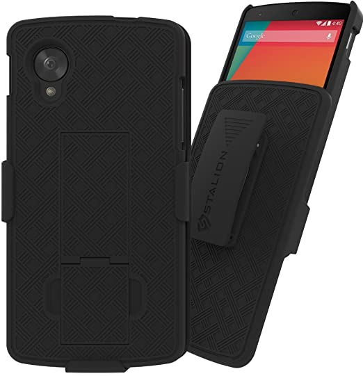 the latest 572c2 1ce82 Nexus 5 Case: Stalion Secure Shell & Belt Clip Holster Combo with Kickstand  for LG Google Nexus 5 (Jet Black) 180° Degree Rotating Locking Swivel + ...