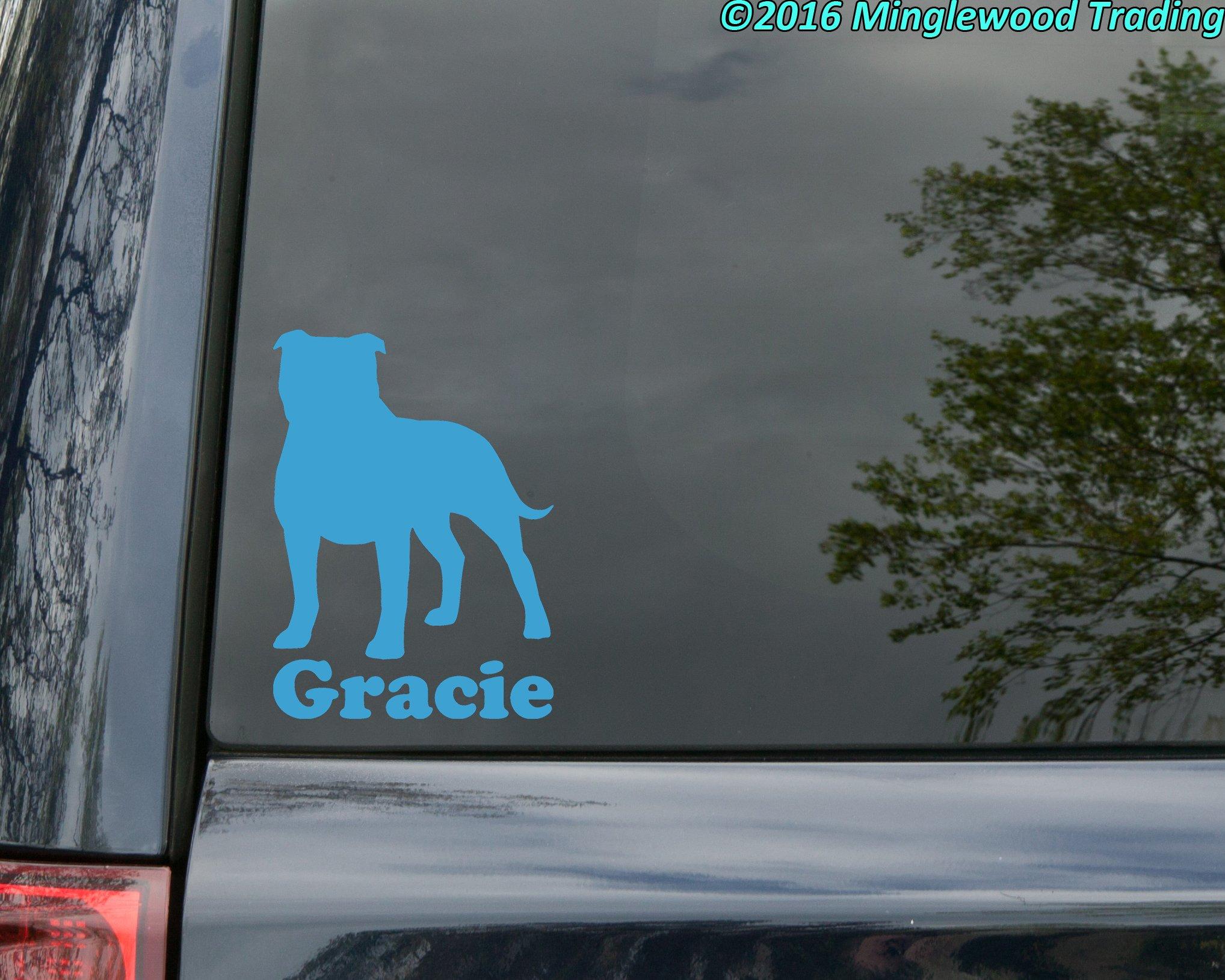 "Minglewood Trading American Staffordshire Terrier w/Custom Name Vinyl Decal Sticker 6"" x 4.25"" Pitbull Pit Bull - - Black 2"