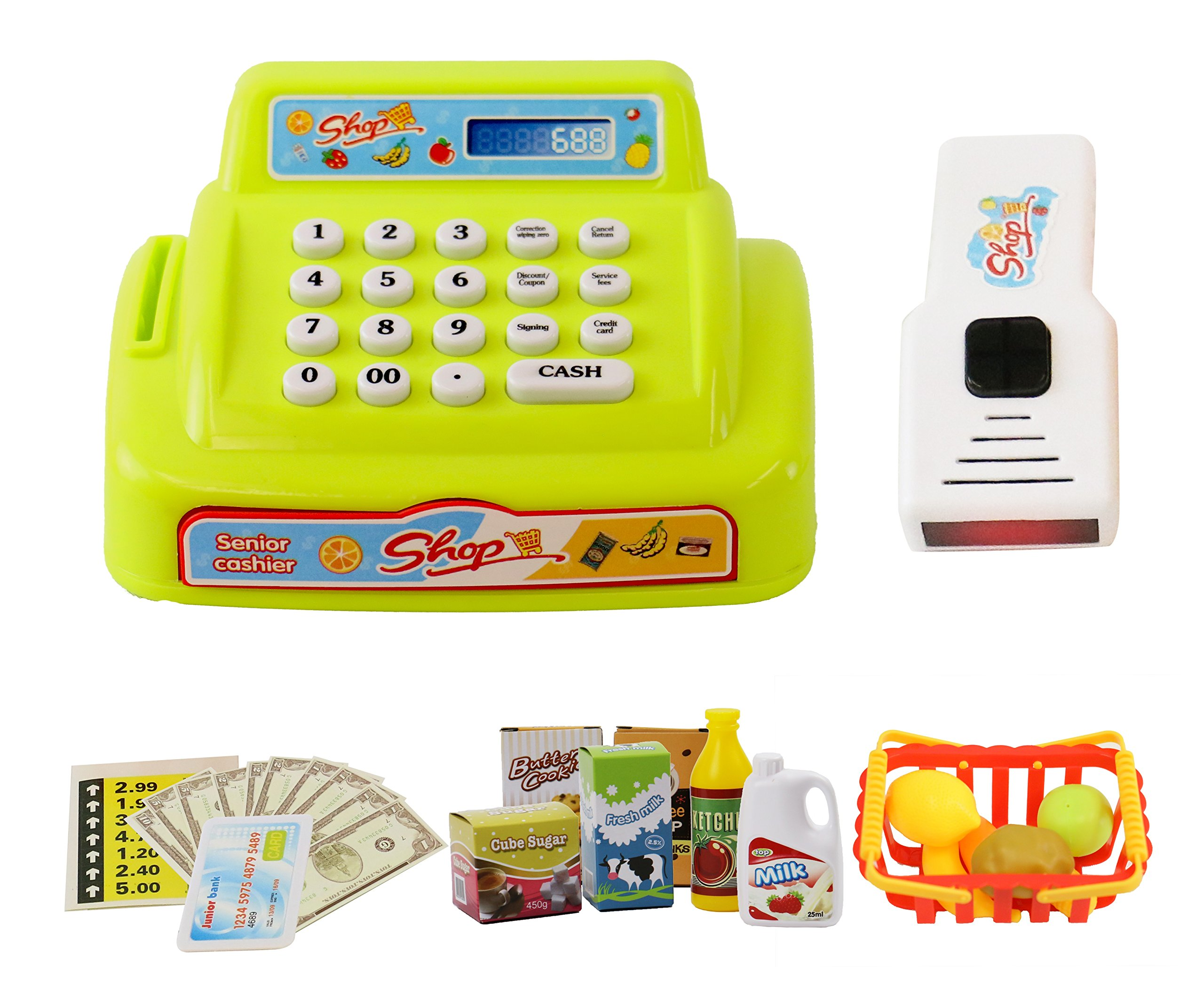 ToyThrill 26 Piece Cash Register Toy for Kids and Supermarket Play Set - with Lights and Sounds, Money, Credit Card, Food and and Groceries - Happy Little Shopping Game