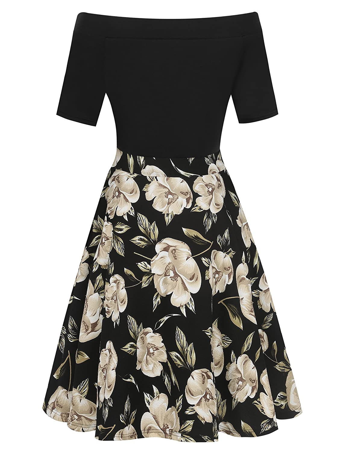 5c7ac65e6e47d oxiuly Women's Casual Pockets Long Sleeve Off Shoulder Floral Flare Party  Dress OX232: Amazon.ca: Clothing & Accessories