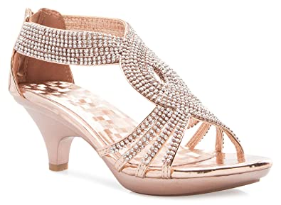OLIVIA K Womenu0027s Open Toe Strappy Rhinestone Dress Sandal Low Heel Wedding  Shoes