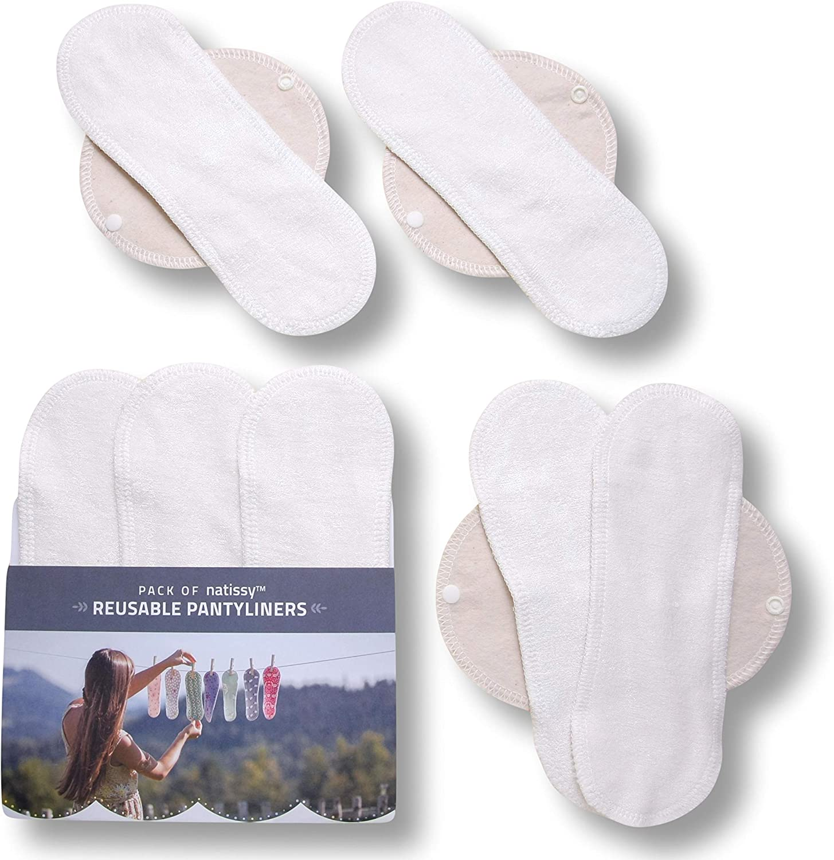 Natissy Salvaslips de tela reutilizables, 7-Pack Protege Slips de bambú con alas HECHAS EN LA UE, Compresas Ecológicas sin PUL, Toallas Sanitarias ...