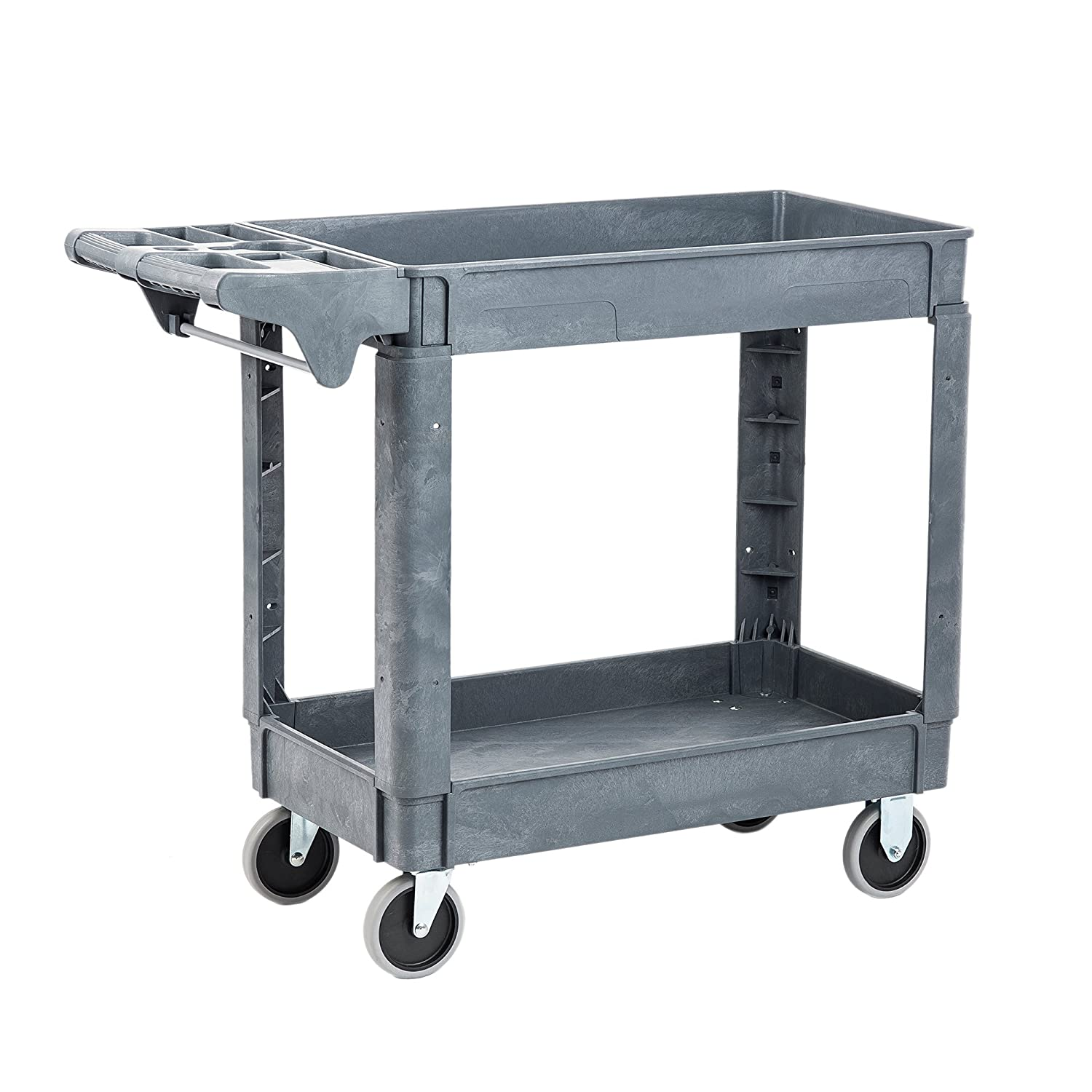 Pearington Utility Rolling Cart- Multi Purpose, Heavy Duty Service Cart Supplies Storage and Organizer 2 Tier with Wheels- 500lb Loading Capacity, Gray