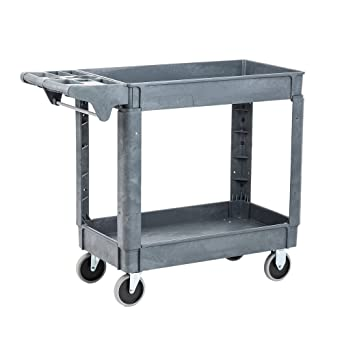 Amazon Com Pearington Utility Rolling Cart Multi Purpose Heavy Duty Service Cart Supplies Storage And Organizer 2 Tier With Wheels 500lb Loading Capacity Gray 2t 29835 Industrial Scientific