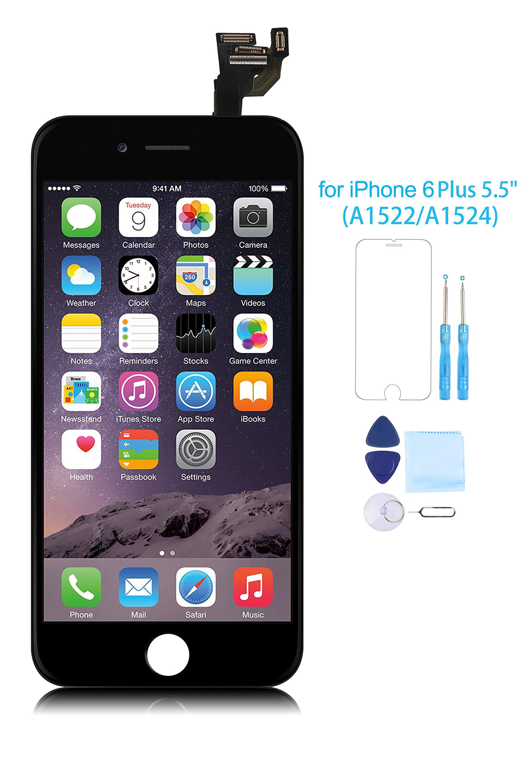 iPhone 6 Plus Screen Replacement Full Assembly LCD Touch Digitizer Display Front Camera Facing Proximity Sensor+ Ear Speaker+ Repair Tools Screen Protector Black