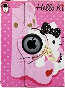 iPad 6th 5th Generation Case , Hello Kitty Design 360 Degree Rotating PU Leather Hard Stand Smart Case for Apple New iPad 9.7 Case 9.7 inch 2017 2018 Generation Case Cover (Color 5)