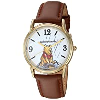 Men's Winnie The Pooh Analog Quartz Watch with Patent Leather Strap, Brown, 18 (Model: WDS000765)