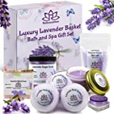 Christmas Gift Sets for Women - Organic Spa Bath Basket Soy Wax Candle, Lavender Natural Oil Bath Salt, 3 Bath Bombs…