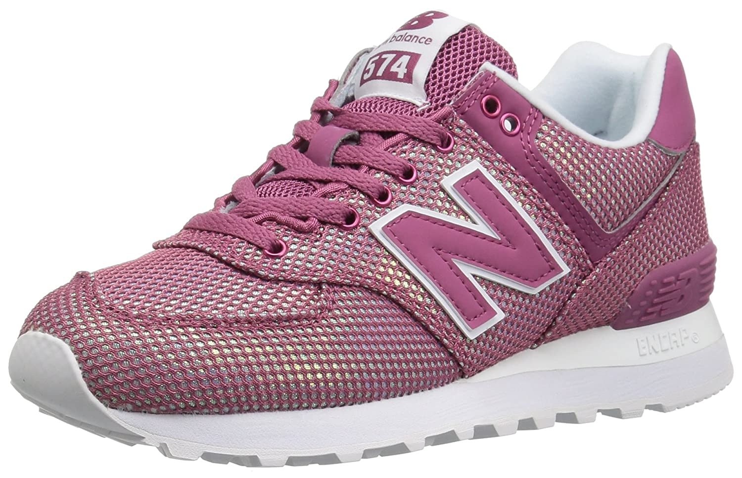 New Balance Women's 574v2 Sneaker B0751Q8LS6 6 D US|Dragon Fruit/White