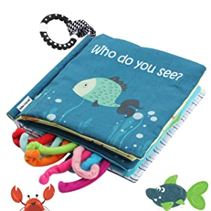 Sea Animal Non-Toxic Fabric Cloth Book,Tails book (Fishy Tails), Soft Activity, Crinkle Books and Toys for Early Education for Babies, Infants,Toddlers, Kids with Teether,Teething book, Octopus, Shark