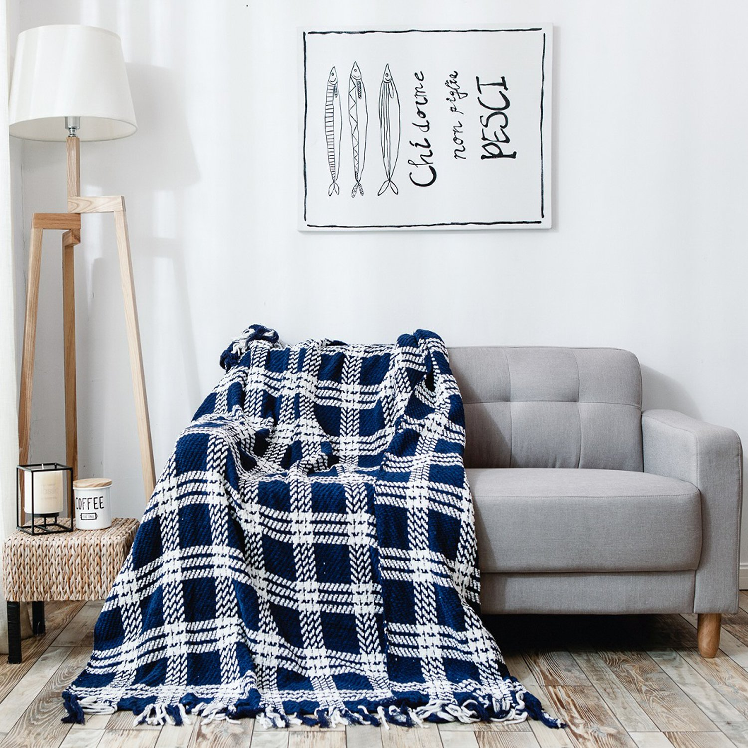 HollyHOME Throw Blanket Plaid Stripe Knitting 60x70 Inches Luxury Soft Microfiber All Season Blanket with Tassels, Ideal for Bed or Couch, Navy Blue