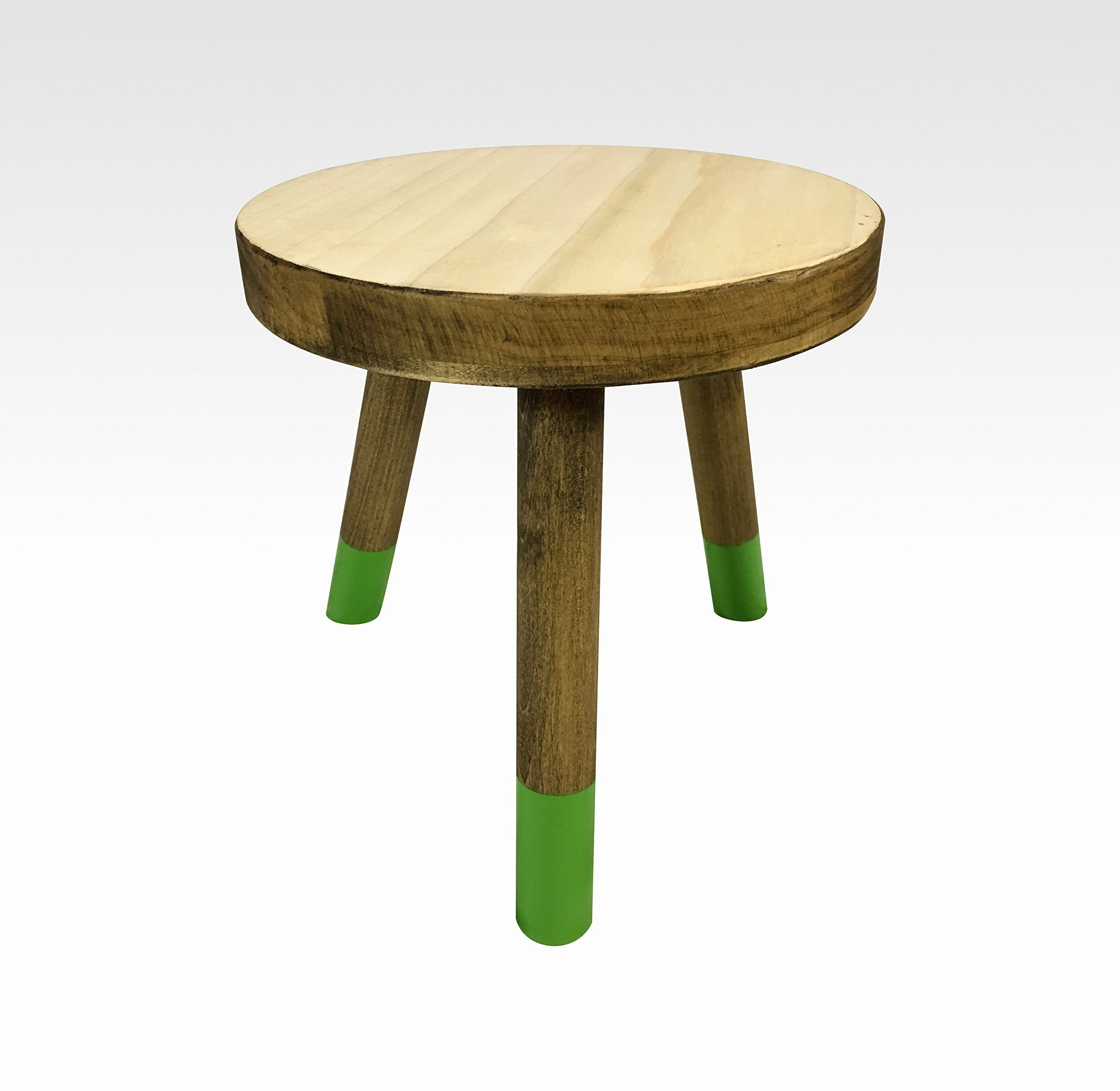 Small Wood Three Legged Stool, Modern Plant Stand in Pale and Black by Candlewood Furniture, Wooden, Tea Table, Kids Chair, Decorative