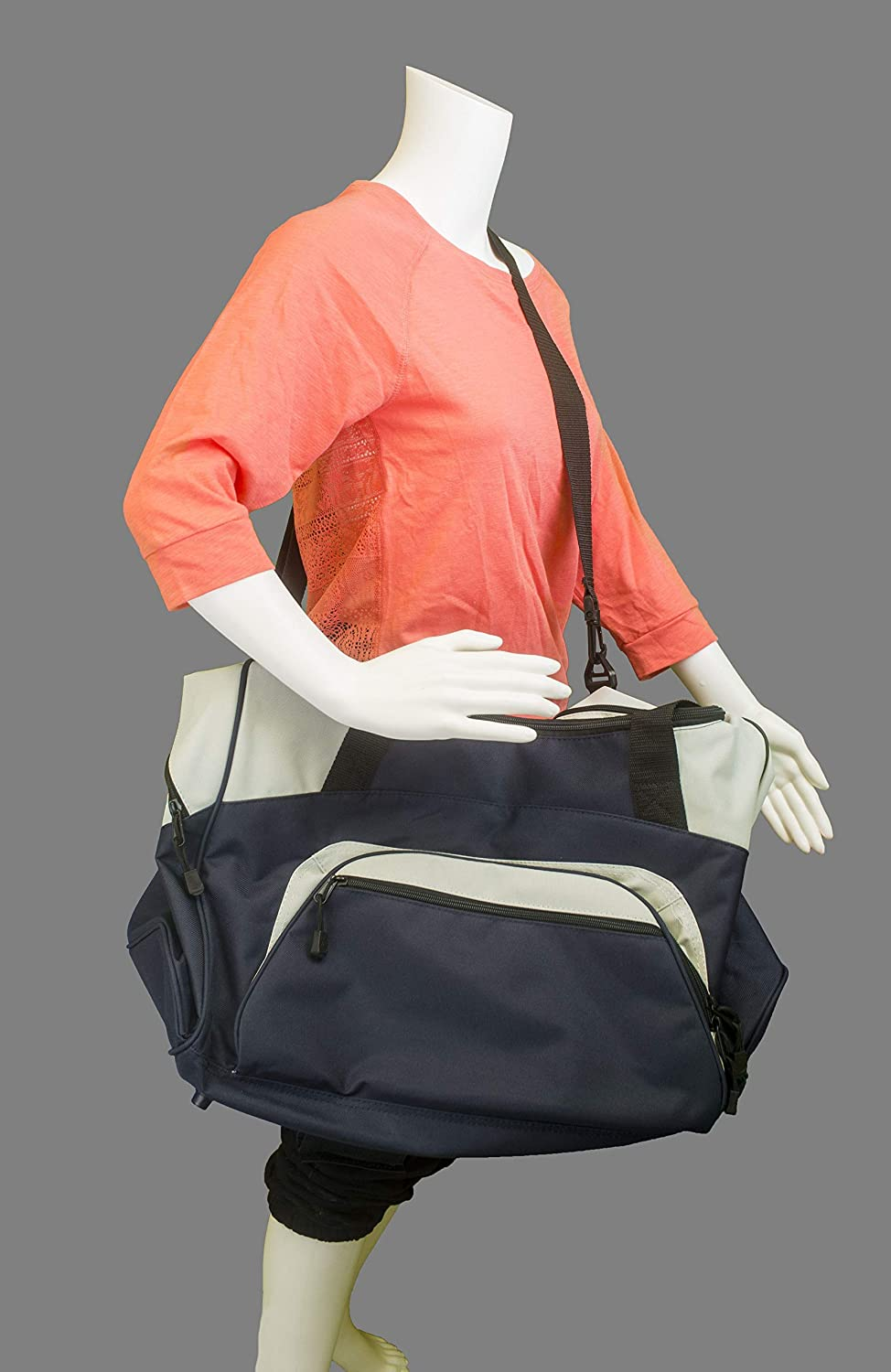 Maroon//Grey Standard Colorblock Sport Duffle Bag all about me company Cheer Personalized