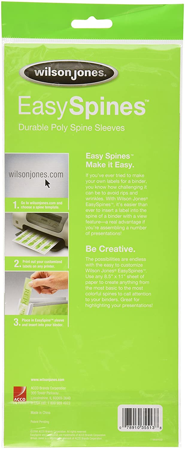 Amazon wilson jones easyspines binder inserts 1 inch width amazon wilson jones easyspines binder inserts 1 inch width 6 per pack clear w35513 binding spines office products pronofoot35fo Images