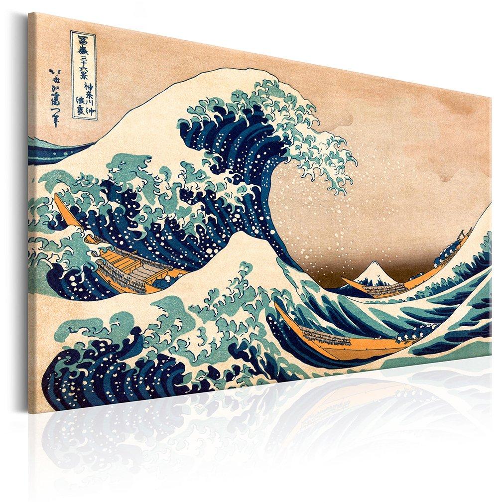 decomonkey Akustikbild Katsushika Hokusai 120x80 cm 1 Teilig Bilder Leinwandbilder Wandbilder XXL Schallschlucker Schallschutz Akustikdämmung Wandbild Deko leise Die große Welle vor Kanagawa