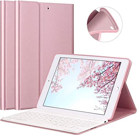 iPad Air//Air 2 Keyboard Case LUCKYDIY Ultra Slim Stand Cover+Magnetical Detachable Wireless Bluetooth Keyboard for Apple iPad Air1//Air2