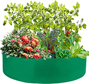 UHBGT 15/50/100 Gallon Grow Bags, Biggest 50 x 11.8 Inch Round Raised Garden Bed Fabric Large Grow Bag Indoor Outdoor Raised Bed Heavy Duty Circle Garden Planter Bags for Garden Vegetables Potted