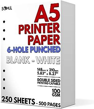 Amazon.com: Papel A5 en blanco, perforado con 6 agujeros ...