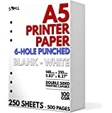 A5 Blank Paper - 250 Sheets - 6 Hole Punched for FiloFax, A5 Planners, Organizers, and Binders - 100 GSM (24 lb…