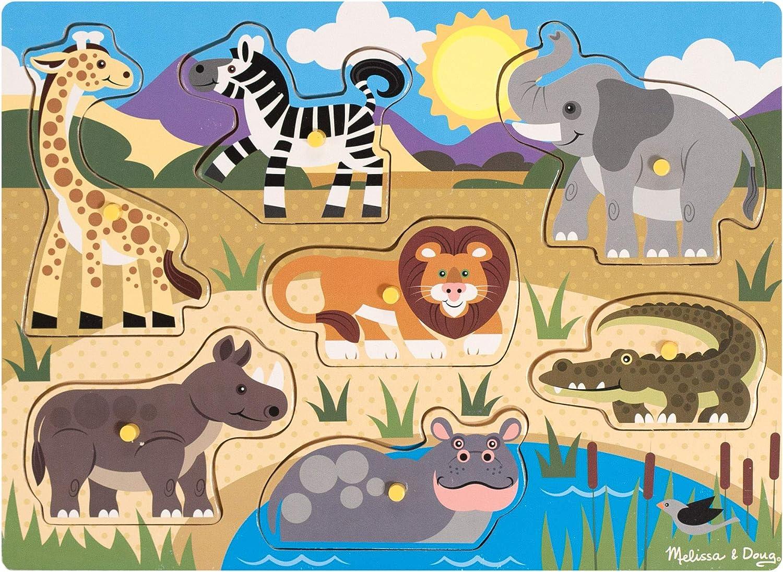 Melissa & Doug- Safari Peg Juego Puzzle con 7 Piezas, Multicolor (19054)