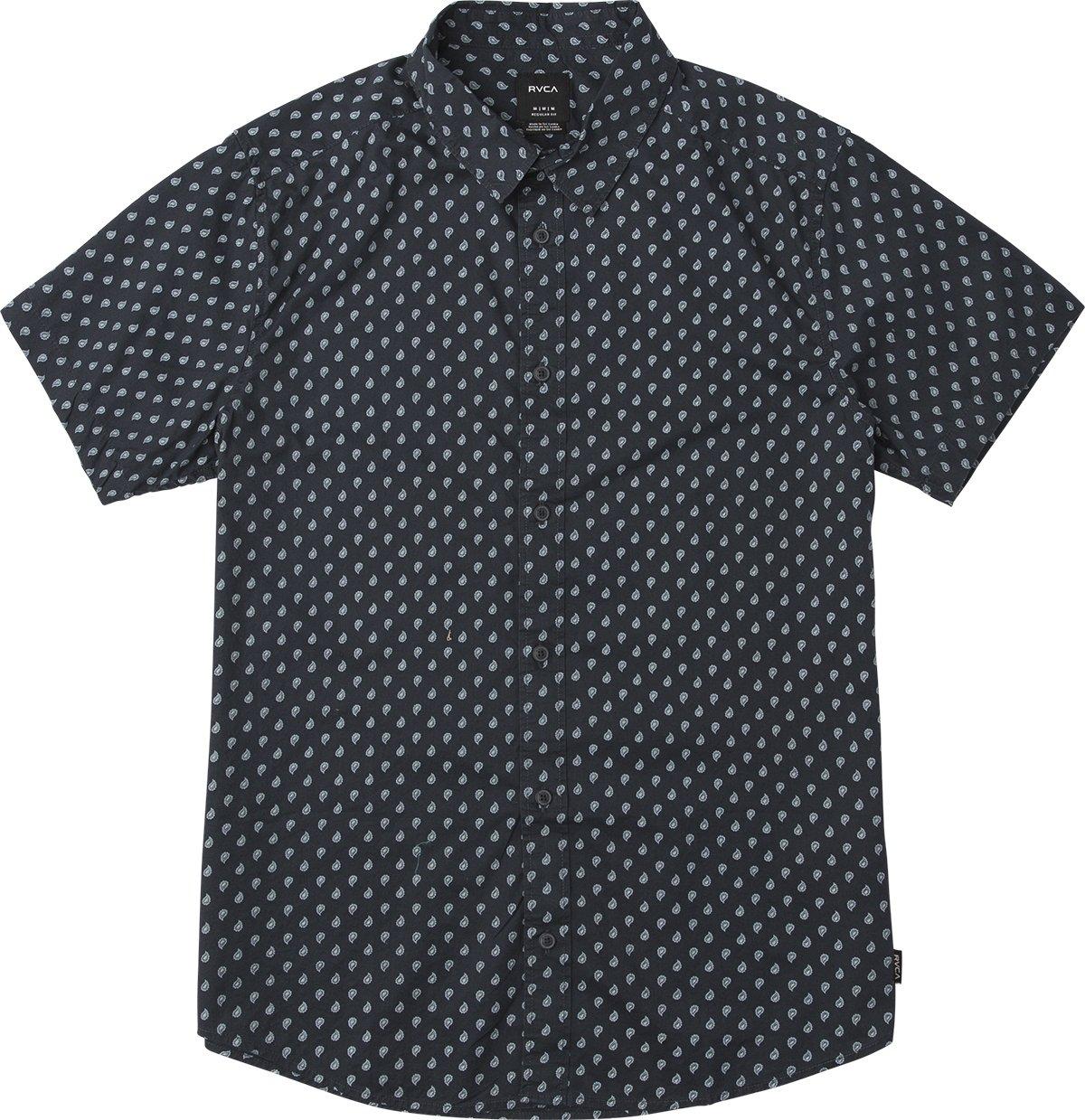 RVCA Men's Mini Paisley Short Sleeve Woven Button UP Shirt, New Navy, XL