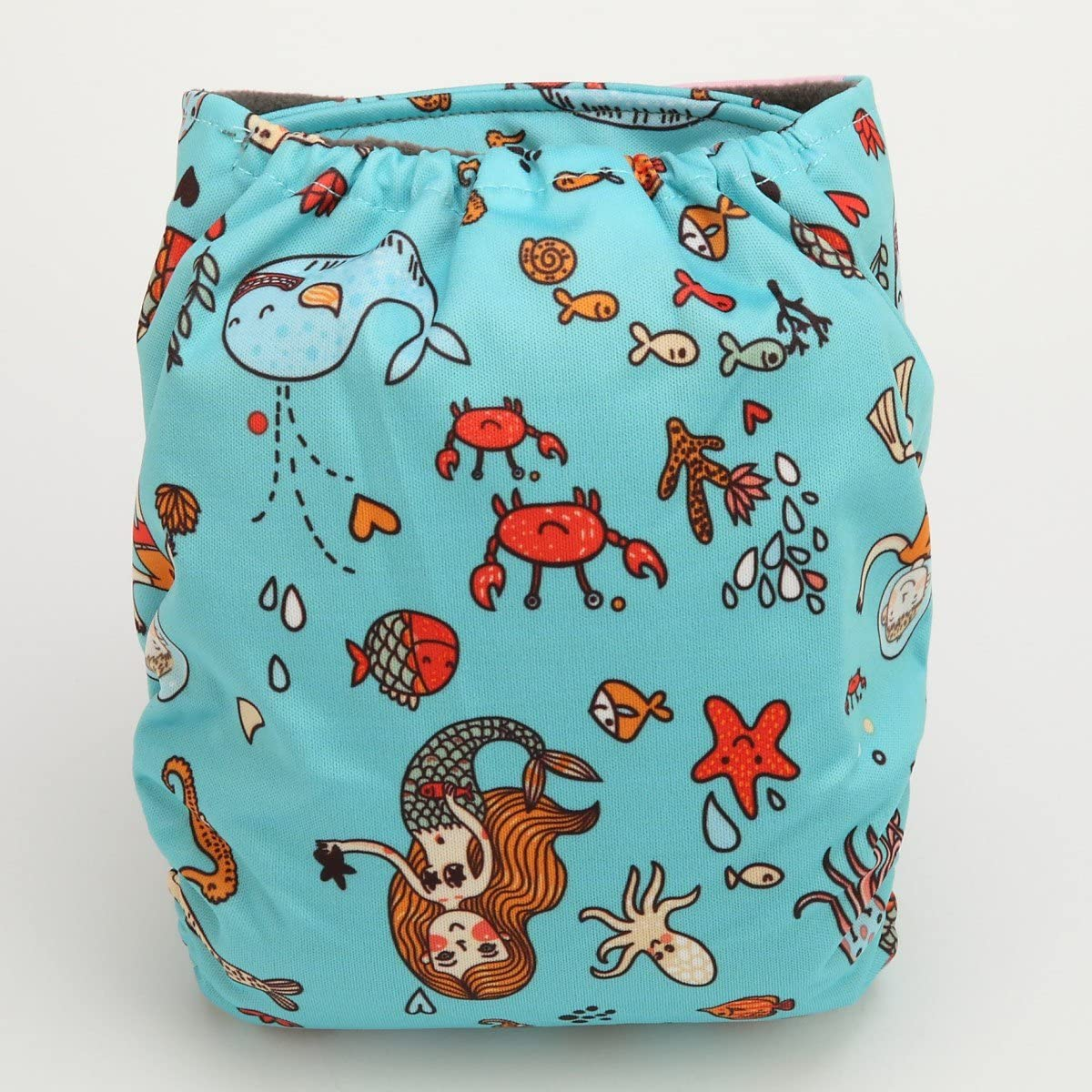 Twinkly Sigzagor AIll in One Night AIO Cloth Diaper Nappy Sewn in Charcoal Bamboo Insert Reusable Washable