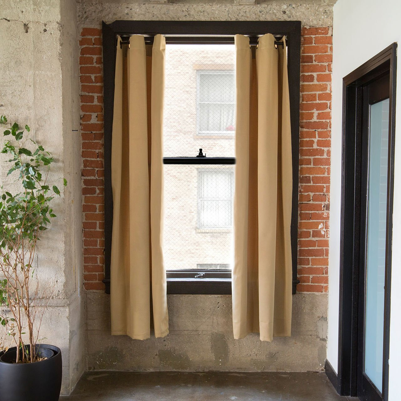 CurtainKitsNow Premium Heavyweight Tension Rod Curtain Kit - Large C, Includes Two Wheat 96'' x 50'' Wide Panels & One 80'' - 100'' Tension Rod)
