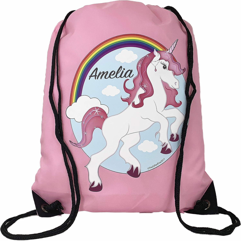 Personalised Unicorn Pink  Childrens PE Swimming School Kids Drawstring Bag