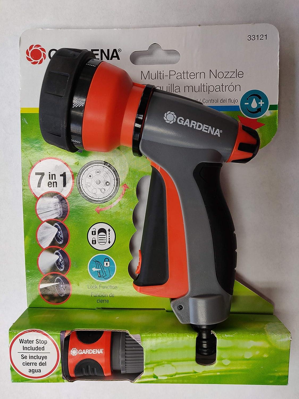 Amazon.com : Gardena 33121 7 in 1 Spray Nozzle Front Trigger, Water Stop : Garden & Outdoor