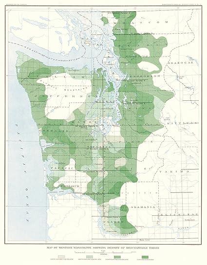 Amazon.com: Historic Map | 1898 Map of Western Washington Showing ...