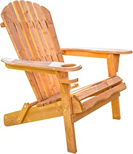 D&H Compact Adirondack Chair with Cup Holder - Outdoor Chairs for Relaxation - Fire Pit, Wooden Chair - Folding Seat Made of Wood - Foldable for Beach, Patio, Lawn - Small Space Patio Furniture
