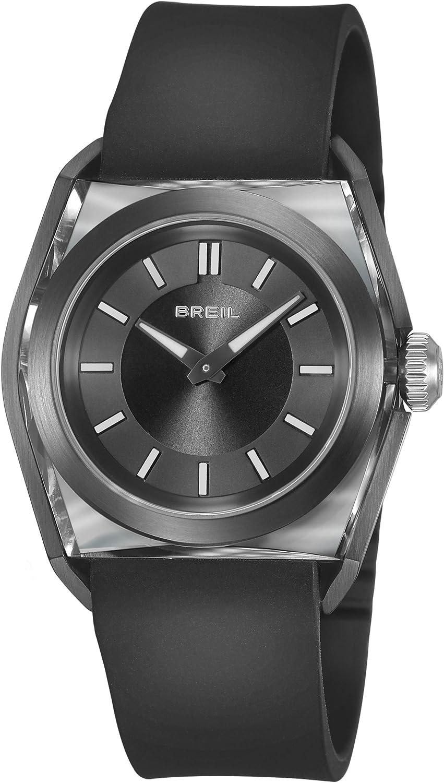 Breil TW0812 - Reloj analógico de mujer de cuarzo con correa de goma negra