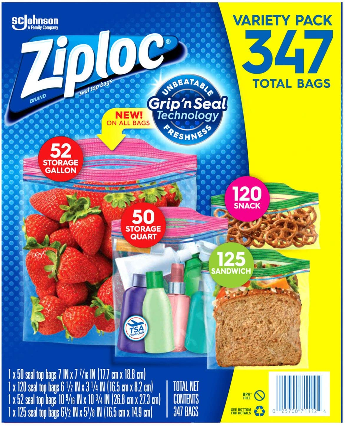 Ziploc Gallon, Quart, Snack & Sandwich Bags (Variety 347 Bags)