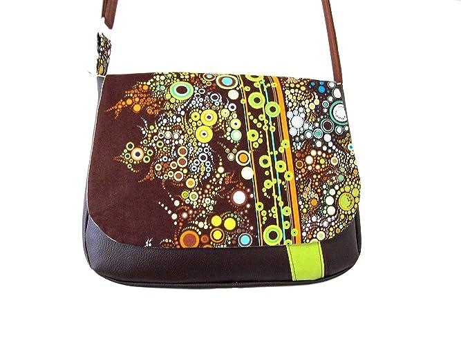 4a2d090425 sac besace femme marron et vert motifs bulles, sac bandouliere vegan, sac a  main