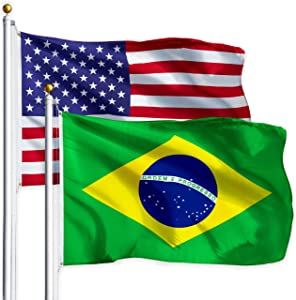 G128 Combo Pack: USA American Flag 3x5 Ft 75D Printed Stars & Brazil (Brazilian) Flag 3x5 Ft 75D Printed