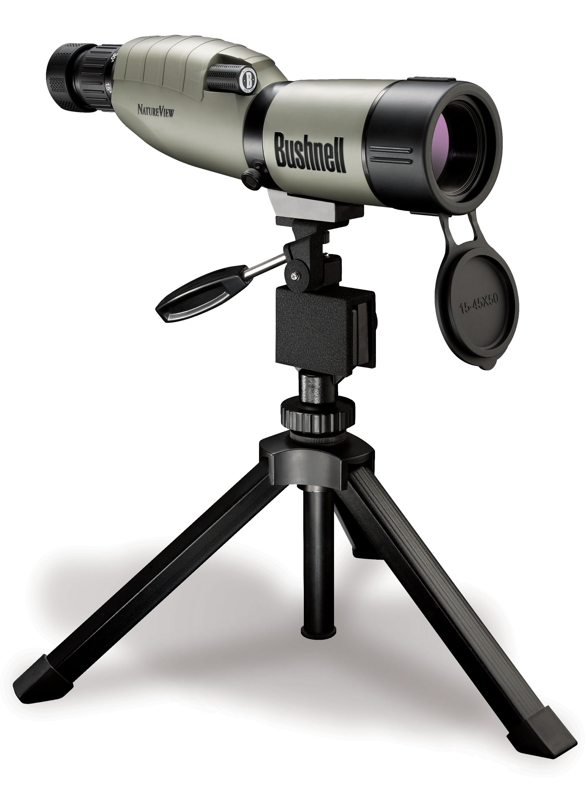 Bushnell Trophy XLT 15-45 x 50mm Porro Prism Waterproof/Fogproof Spotting Scope with Compact Tripod, Tan