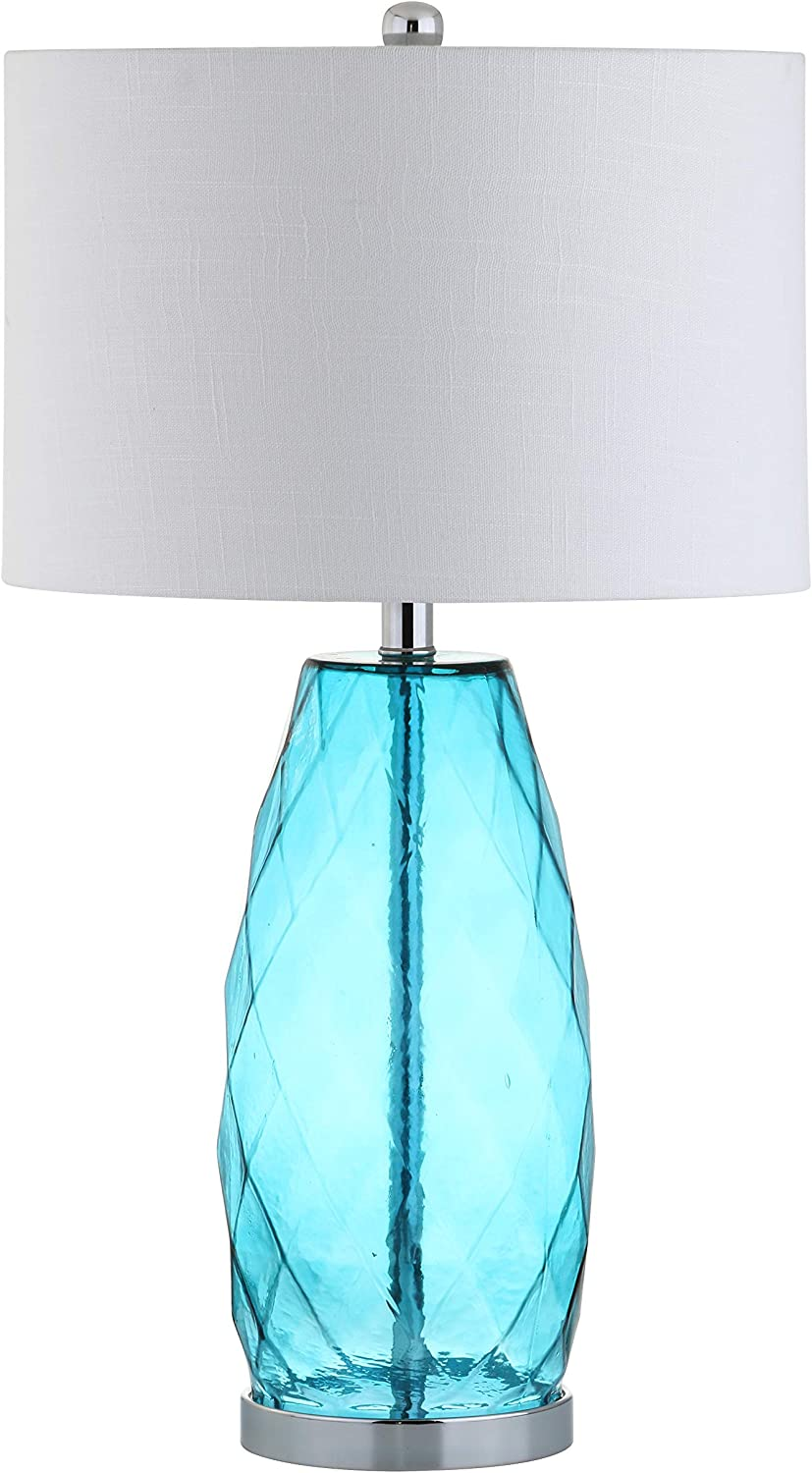 """JONATHAN Y JYL4009B Juliette 26.5"""" Glass/Metal LED Table Lamp, Contemporary, Transitional, Coastal for Bedroom, Living Room, Office, Moroccan Blue"""