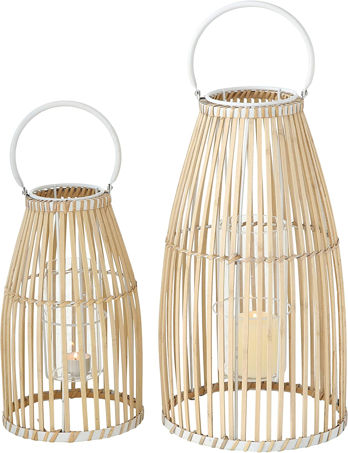 WHW Whole House Worlds Key West Bamboo Hurricane Lanterns, Set of 2, White Metal Frame, Loop Handle, Floating Glass Insert, 9 3/4 D x 17 1/4 T, and 7 D x 12 1/4 T Inches, Modern Tropical Design