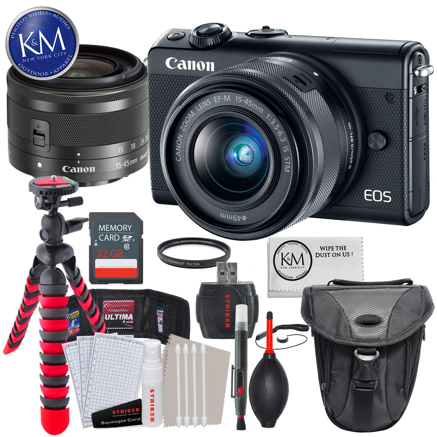 Canon EOS M100 Mirrorless Digital Camera with 15-45mm Lens (Black) + Essential Photo Bundle by K&M
