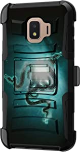 TurtleArmor | Compatible with Samsung Galaxy J2 Core Case | J2 Dash Case | J2 Pure Case [Hyper Shock] Hybrid Dual Layer Armor Holster Belt Clip Case Kickstand - Blue Serpents