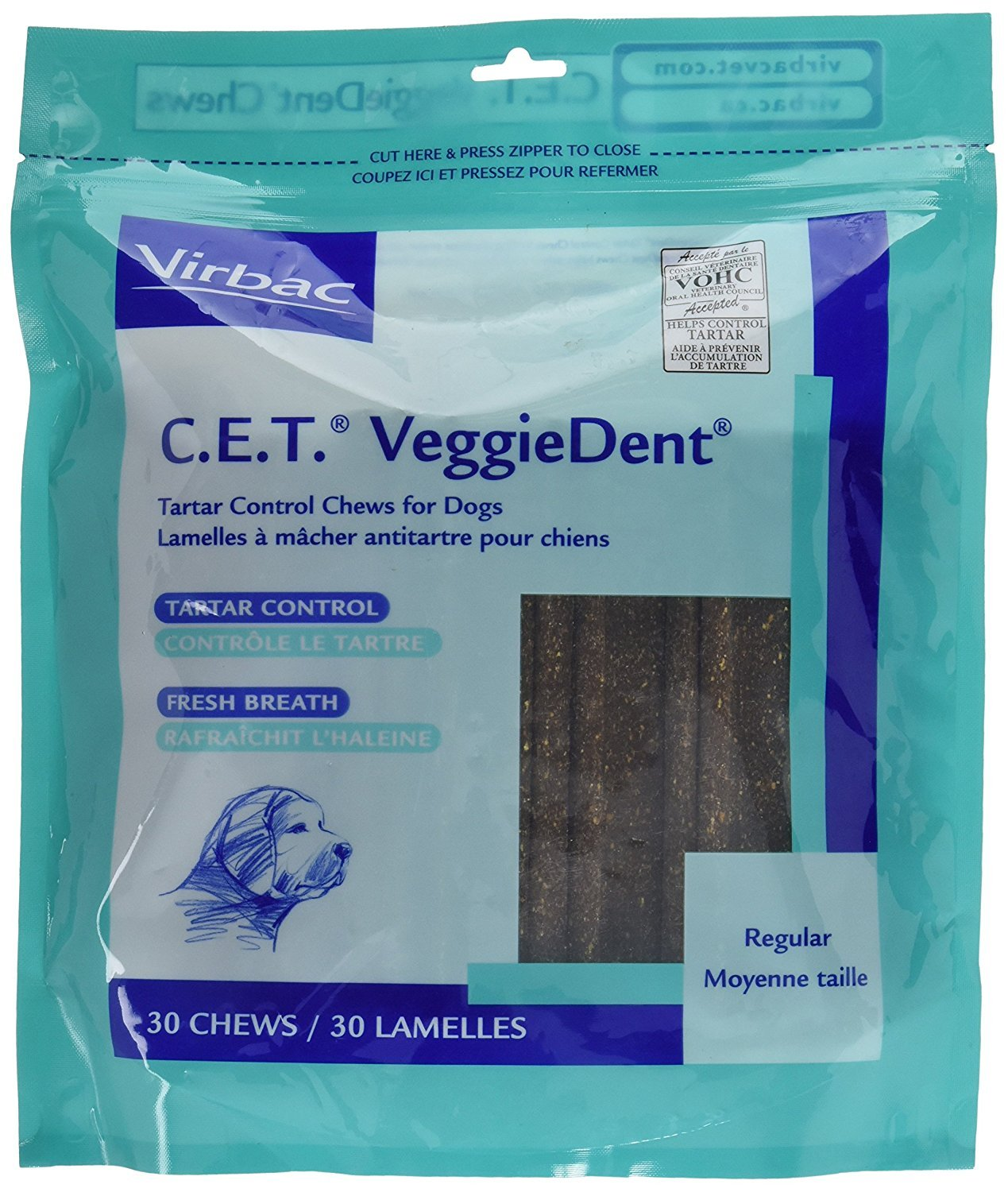 C.E.T. VeggieDent Chews, Regular,30 Chews (Pack of 2, 60 total) by C.E.T. VeggieDent Chews for Dogs, Regular, 30 Count