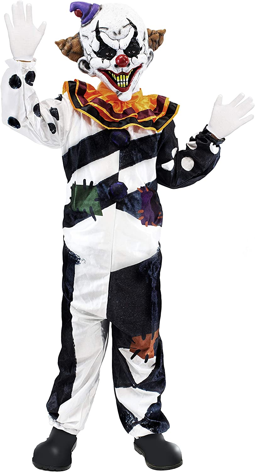Scary Clown Costume Kids Deluxe Set for Halloween Dress Up Party, Role Play  and Carnival Cosplay