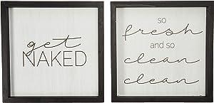 "Stratton Home Décor Stratton Home Decor Set of 2 Get Naked Wall Art, 12.00"" W X 1.00"" D X 12.00"" H Each, White, Black"