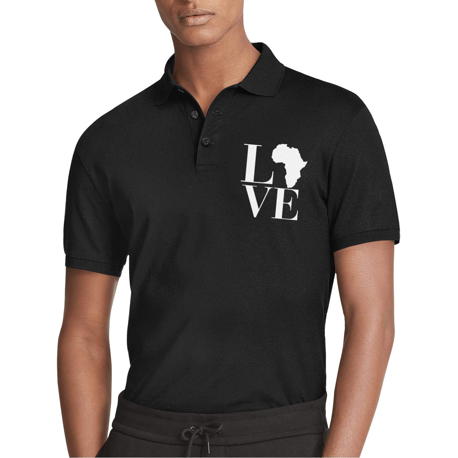 WYFEN Men Printed Polo Shirt Black History Month Love Africa Continent Popular Short Sleeve Tee