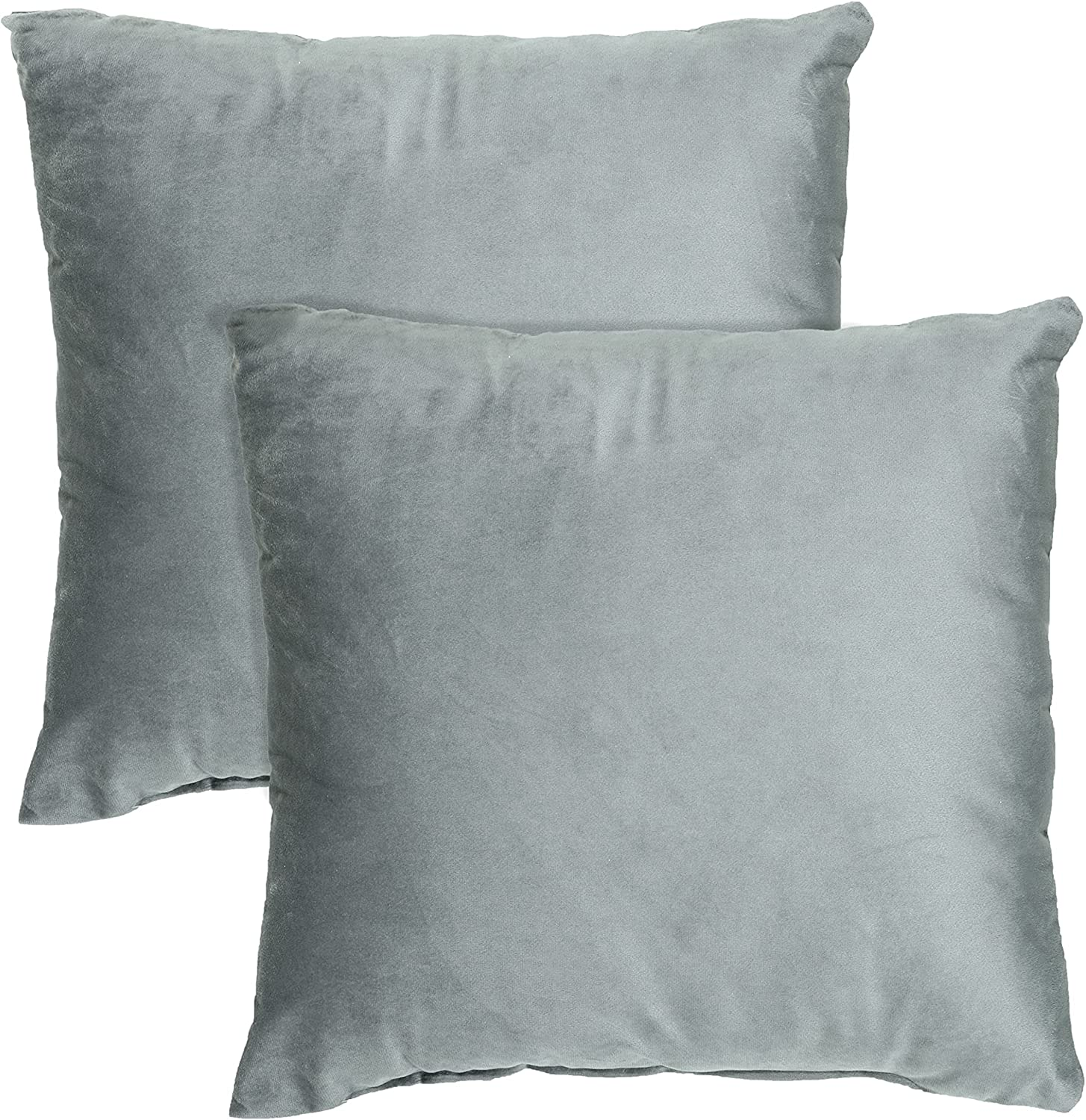 Tex Trend - Inserts Included Decorative Throw Pillows Velvet Solid Pillow Cushions for Bed Sofa Couch Chair Car - ( Grey -18x18 Inch, Pack of 2)