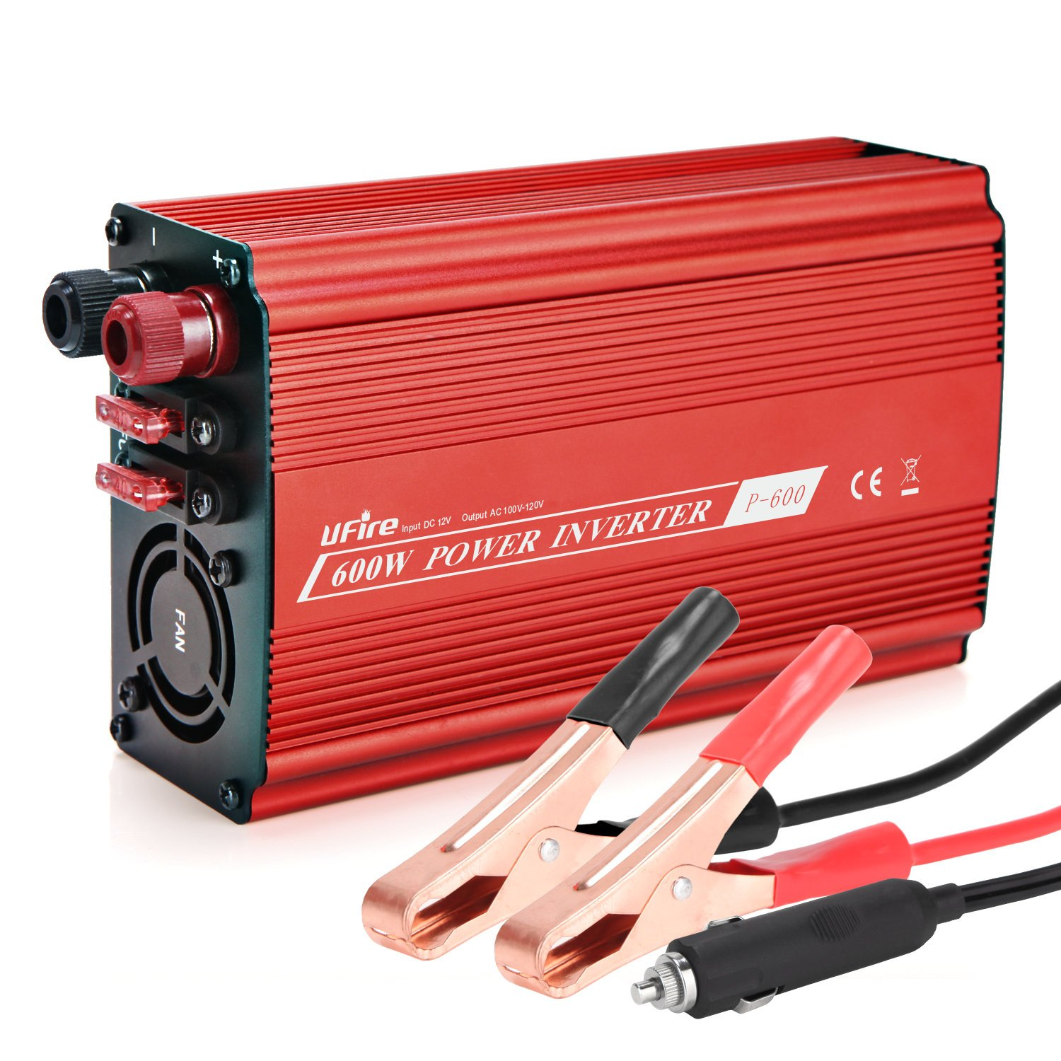 UFire 600W Car Power Inverter DC 12V to 110V AC Car Converter with 4.8A Dual USB Ports and Dual AC Outlets Smart Charger Travel Kit Portable Adapter -Red