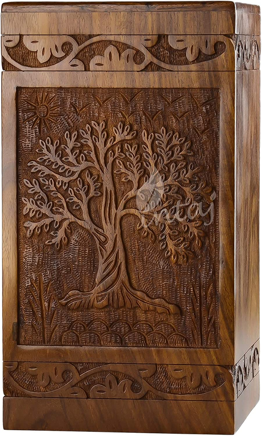 INTAJ Handmade Rosewood Urn for Human Ashes - Tree of Life Wooden Urns Hand-Crafted - Funeral Cremation Urn for Ashes (Adult (250 Cu/in), Rosewood Tree)